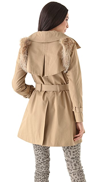 Rebecca Minkoff Jacqueline Trench Coat with Fur