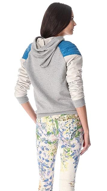 Rebecca Minkoff Leather Sleeve Sweatshirt