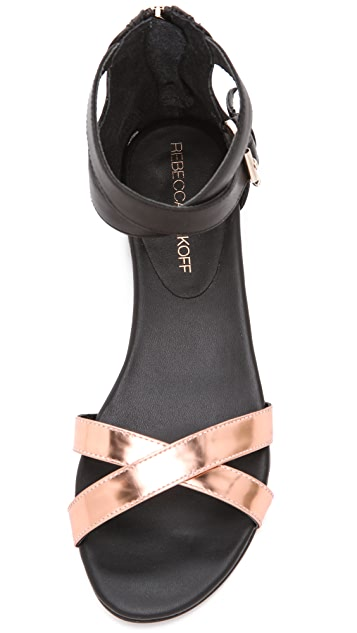 Rebecca Minkoff Bettina Metallic Flat Sandals