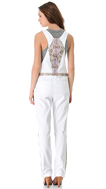 Rebecca Minkoff Landon Python Leather Overalls