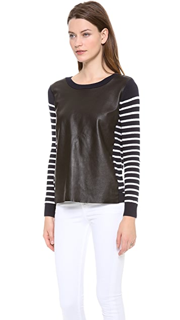 Rebecca Minkoff Leather Inserted Striped Top