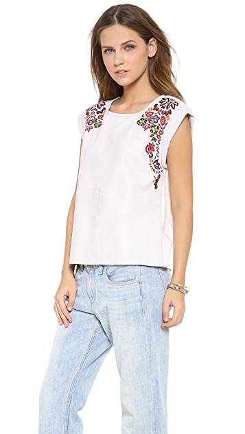 Rebecca Minkoff Amore Leather Embroidered Top