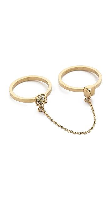 Rebecca Minkoff Pave Pyramid Chain Ring