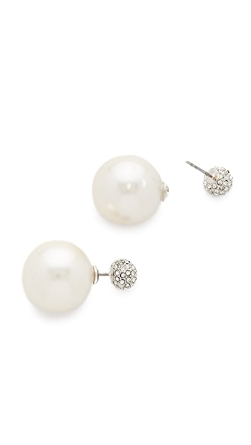 Rebecca Minkoff Large Imitation Pearl Front to Back Earrings