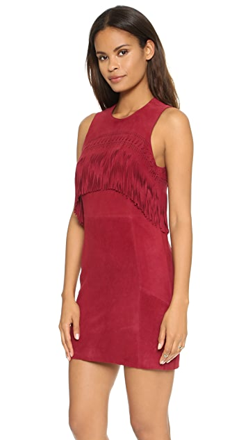 Rebecca Minkoff Sleeveless Fringe Suede Dress