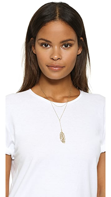 Rebecca Minkoff Layered Feather Drop Necklace