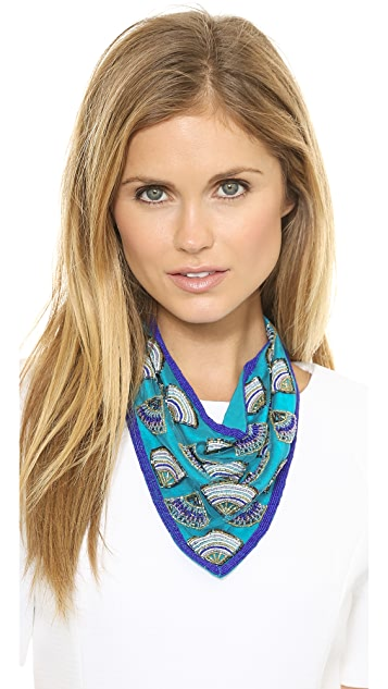 ROARKE new york Beaded Feather Bib Necklace