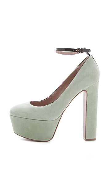 Rochas Suede Platform Pumps with Ankle Strap