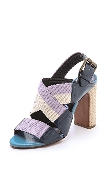 Rochas Canvas Woven Heel Sandals
