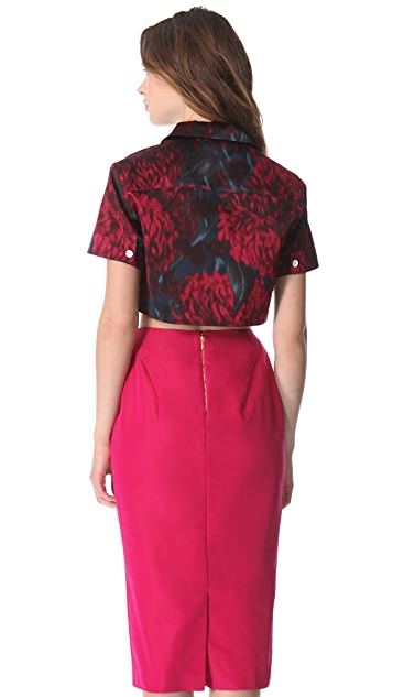 Rochas Cropped Silk Top