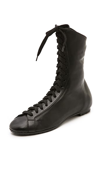 Rochas Black Lace Up Boots