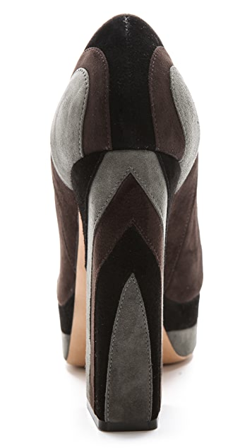 Rochas Suede Multicolored Pumps