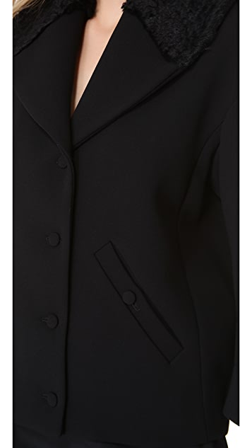 Rochas Jacket with Faux Fur Collar