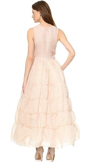 Rochas Ruffled Sleeveless Gown