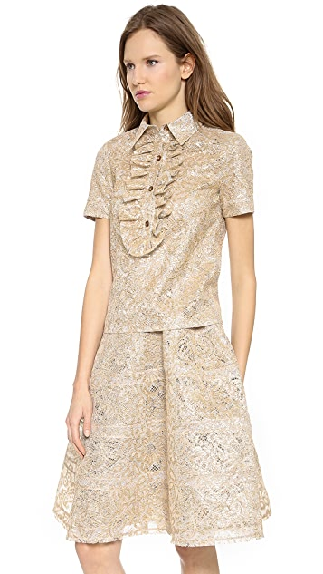 Rochas Layered Metallic Lace Blouse