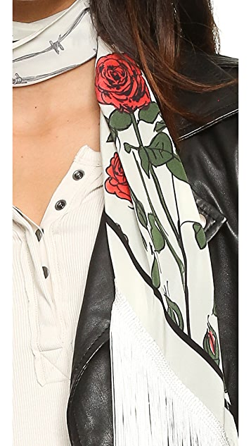 Rockins Classic Skinny Fringed Roses Silk Scarf