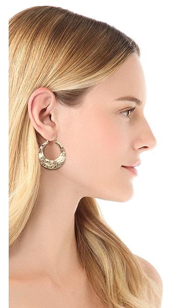 Rose Pierre Banyan Tree Bark Hoop Earrings