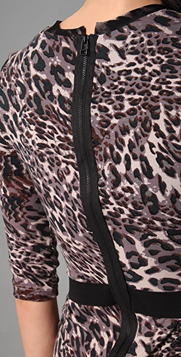 Robert Rodriguez Leopard Long Sleeve Dress