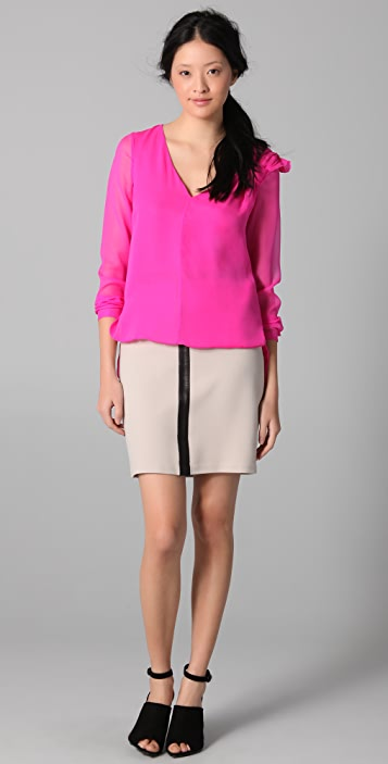 Robert Rodriguez Pencil Skirt with Leather Trim