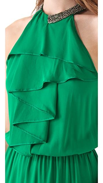 Robert Rodriguez Folded Pleat Long Dress