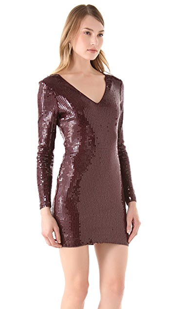 Robert Rodriguez V Neck Sequin Mini Dress