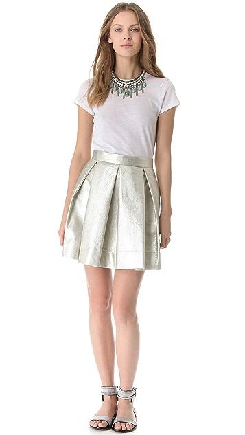 Robert Rodriguez Raffia Box Pleat Skirt