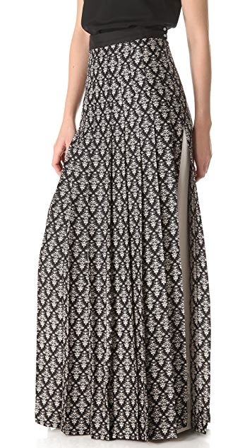 Robert Rodriguez Fleur de Lis Pleated Skirt