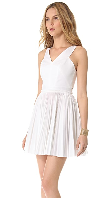 Robert Rodriguez Pleated Cutout Dress