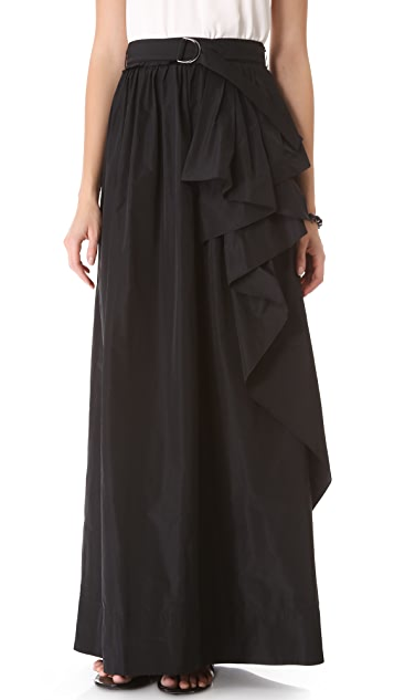 Robert Rodriguez Belted Cascade Long Skirt