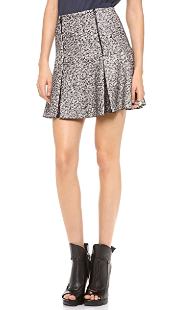 Robert Rodriguez Tweed Zip Flip Skirt