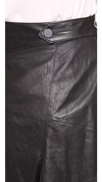 Robert Rodriguez Flared Leather Skirt