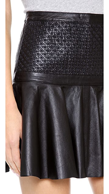 Robert Rodriguez Cane Weave Leather Skirt