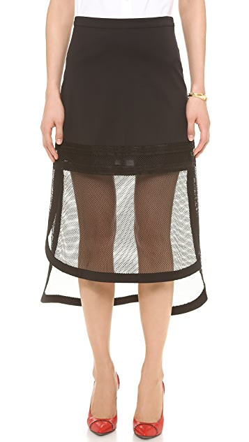 Robert Rodriguez Kuba Embroidered Net Skirt