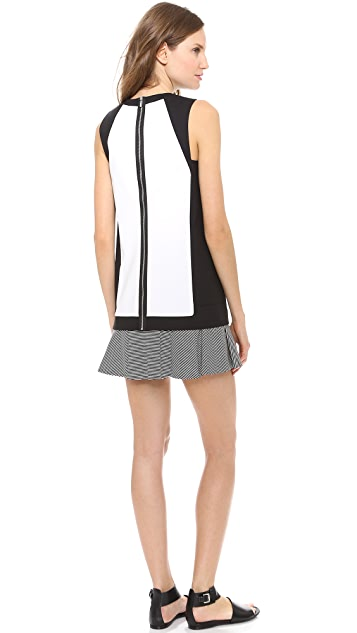 Robert Rodriguez Striped Flounce Sheath Dress