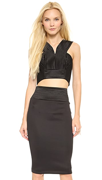 Robert Rodriguez Quorra Striped Embroidery Bra Top