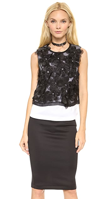 Robert Rodriguez Appliqued Flower Blouse