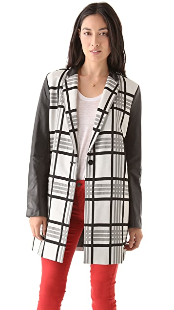 Rachel Roy Plaid Leather Combo Coat
