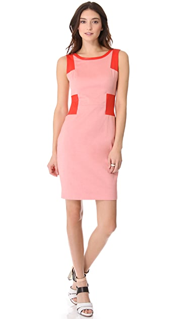 Rachel Roy Leather Mix Sheath Dress