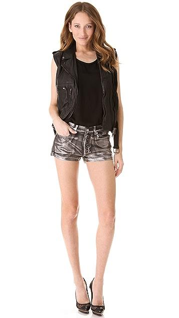 R13 Metallic Coated Shorts