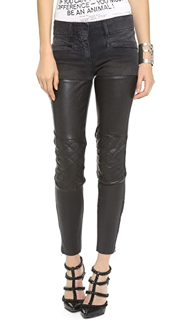 R13 Moto Leather Chap Jeans