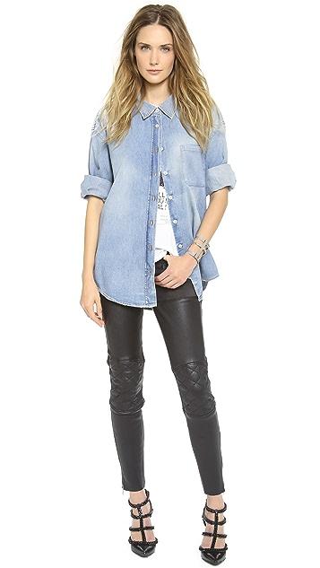 R13 Moto Leather Chap Jeans