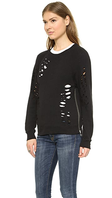 R13 Shredded Zip Side Sweatshirt