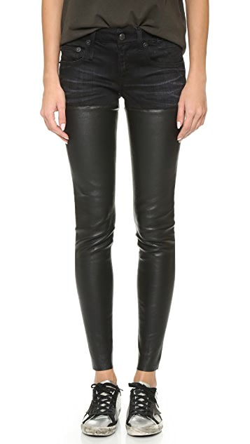 R13 Leather Chaps Jeans