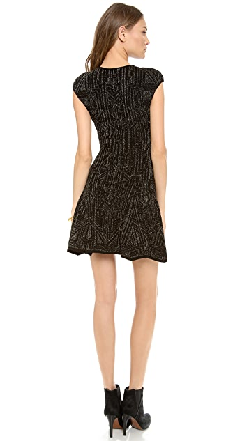 RVN Lace Jacquard Skater Dress