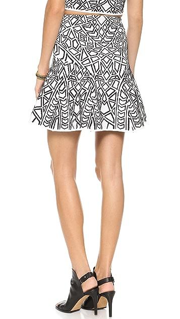 RVN Geo 3D Jacquard Flare Skirt