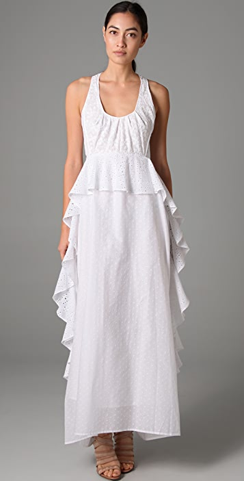 Sachin & Babi Embroidery Ruffle Long Dress