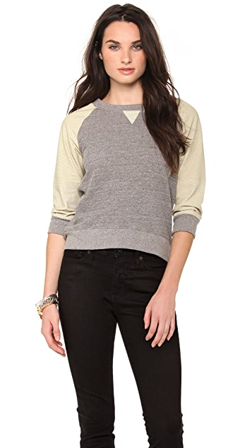 MODERNSAINTS Perforated Leather Sleeve Sweatshirt