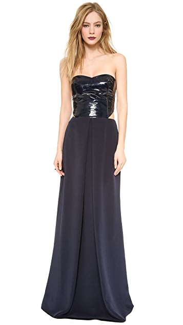 Sally LaPointe Patent Bustier Cutout Gown