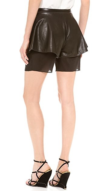 Sally LaPointe Leather Skirt Shorts
