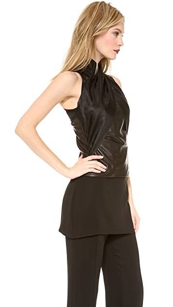 Sally LaPointe Leather Shell with Organza Halter